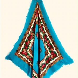 Vintage look Mexican Scarf Shawl Turquoise & Red